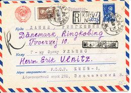 USSR Registered Uprated Postal Stationery Air Mail Cover Sent To Denmark Kiev 14-8-1959 - 1923-1991 USSR