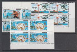 Peru 1989 Antarctica 3v Ovptd Bl Of 4  ** Mnh (44164A) - Zonder Classificatie