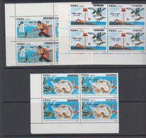 Peru 1989 Antarctica 3v Ovptd Bl Of 4  ** Mnh (44164B) - Zonder Classificatie