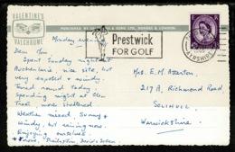 "Ref 1317 - 1965 Postcard - Super ""Prestwick For Golf"" Slogan Postmark - Gatehouse-of-Fleet - 1952-.... (Elizabeth II)"