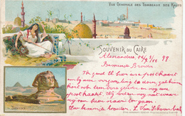 716/29 - EGYPT Ancient Colour Multiple Views , Editor Armanino , Genova - Used 1899 To Belgium (stamp Missing). - Autres