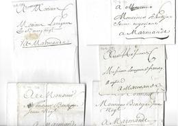 Un Petit Lot De 5 Lettres Pour Marmande De 1777 à 1783 Bien - Marcophilie (Lettres)