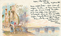717/29 - EGYPT Ancient Colour Multiple Views , Editor Richter , Napoli - Used CAIRE 1898 To DRESDEN - Autres