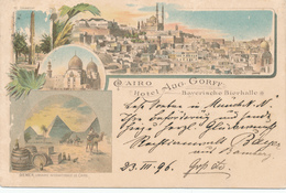 721/29 - EGYPT Ancient Colour Multiple Views CAIRO , Hotel § Bierhalle Aug. Gorff - Used CAIRE 1895 To Bayern - Autres