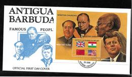 ANTIGUA-BARBUDA - Hommes Célèbres : MAO-TSE-TUNG/GANDHI/CHURCHILL/KENNEDY 1er Jour Au 19-11-1984 - Sir Winston Churchill