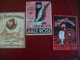 Lot De 3 étiquettes De Vin: Le Vieux Corsaire, Aigle Rosé ( Gloaguen), Le Petit Fermier - Alcools