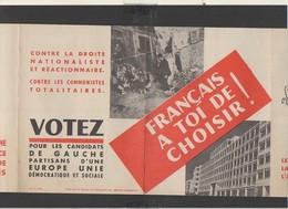 """Politique / Dépliant Propagande D'époque """" Votez Pour Les Candidats De Gauche Partisans D'une Europe Unie ... """" - Historische Dokumente"""