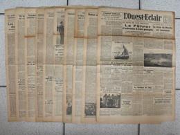 """10 Journaux """"L'Ouest-Eclair"""". 1942. Guerre. France Occupée. Articles Pro-allemand. Japon USA Russie - Kranten"""