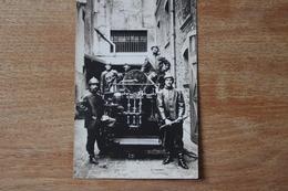Carte Photo Sapeur Pompier  Presentation Du Camion Pompe Vers 1910 - Firemen