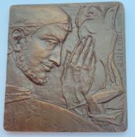 """Medaille-plaquette Bronze. Dolf Ledel. De Kunstenaar. Gala De La Presse Le """"Prince Igor"""". 12-12-1955. 70x75mm - Professionnels / De Société"""