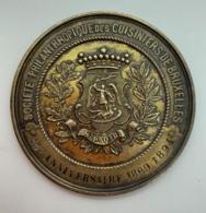Medaille Bronze. P. Fisch. Société Philantropique Des Cuisiniers De Bruxelles. 1869-1894. 25e Anniversaire. 52mm - Professionnels / De Société