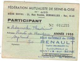 Régie Nationale Des Usines Renault Mantes Sur Seine 1955 - Historical Documents