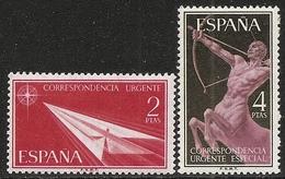 1956-ED. 1185 Y 1186 SERIE COMPLETA- ALEGORÍAS. CORREO URGENTE-NUEVO SIN FIJASELLOS - 1951-60 Nuovi