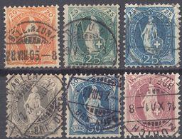 HELVETIA - SUISSE - SVIZZERA - 1882/1904 - Lotto Di 6 Valori Usati: Yvert 71/73, 75, 76 E 78. - Used Stamps