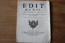 1787   Edit Du Roi Pour La Creation D'une Assemblée Provinciale Dans Le Dauphiné  Grenoble Aux Armes De France - Documentos Históricos