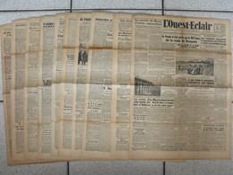 """10 Journaux """"L'Ouest-Eclair"""". 1942. Guerre. France Occupée. Articles Pro-allemand. Japon USA Russie (4) - Kranten"""