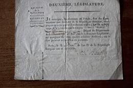 Revolution Française AN 4 Diplôme  Certificat D'enregistrement D'un Député  Laurenceau Cachet Autographe Conseil Des 500 - Historische Documenten