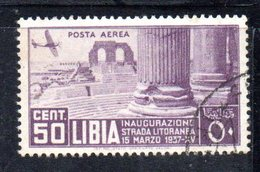 APR2220 - LIBIA 1937 ,  Posta Aerea Sassone N. 30 Usato  (2380A) . Litoranea - Libye