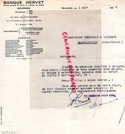 18- BOURGES- CHATEAUROUX-VIERZON- RARE LETTRE BANQUE HERVET - A VERGNIAUD RATINAUD GANTERIE SAINT JUNIEN-1934 - Bank & Insurance
