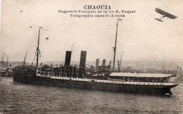 """PAQUEBOT """"CHAOUIA"""" CIE N.PAQUET - TELEGRAPHE SANS FIL A BORD - 1916 - Passagiersschepen"""