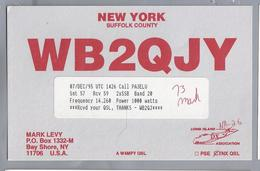 US.- QSL KAART. CARD.  WB2QJY. MARK LEVY, BAY SHORE, NEW YORK. SUFFOLK COUNTY. U.S.A. - Radio-amateur