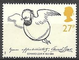 1988 27p Edward Lear As A Bird, Used - 1952-.... (Elizabeth II)