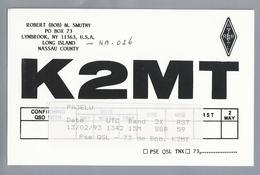 US.- QSL KAART. CARD. K2MT. ROBERT BOB M. SMUTNY, LYNBROOK, NEW YORK. LONG ISLAND. NASSAU COUNTY. U.S.A. - Radio-amateur