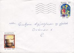 Iceland REYKJAVIK 1989 Cover Brief Christmas Weihnachten Jul Noel Natale Navidad Stamp & Seal !! - 1944-... Repubblica