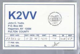 US.- QSL KAART. CARD. K2VV. JOHN C. YODIS, HAGAMAN, NEW YORK. FULTON COUNTY. DiG. U.S.A. - Radio-amateur