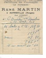 """Facturette (14 X 10.5 Cm) 1926 / 88 AUTREVILLE / René MARTIN / Fabrique De Fromages """"Le Punerot"""" - 1900 – 1949"""