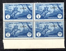 ETP74 - LIBIA 1937 ,  Posta Aerea Il N. 29 In Fresca Quartina Integra  *** MNH    (2380A) - Libya