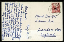Ref 1308 - 1955 Postcard - East Germany 20pf Overprint (SG E194) Leipzig To London - Covers & Documents