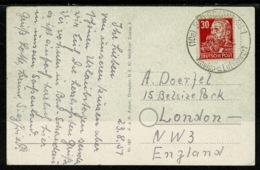 Ref 1308 - 1951 Postcard - Germany Russian Zone 30pf (SG R43) To London - Soviet Zone