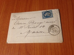 FAYENCE  ( Var -83) - GC 1476-  LETTRE  écrite 1867 - ( Port à Ma Charge ) - 1849-1876: Klassieke Periode