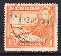 CYPRUS - 1938-1951 1938 ONE PIASTRE KGVI FINE USED SG 154 REF A12 - Cyprus (...-1960)