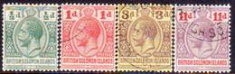 "BRITISH SOLOMON ISLANDS 1913 SG #18-21 Compl.set Used CV £32 Inscr.""POSTAGE POSTAGE"" - British Solomon Islands (...-1978)"