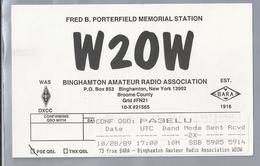 US.- QSL KAART. CARD. W2OW. FRED B. PORTERFIELD MEMORIAL STATION. BINGHAMTON AMATEUR RADIO ASS., BROOME COUNTY. U.S.A. - Radio-amateur