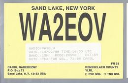 US.- QSL KAART. CARD. WA2EOV. WA2E0V. CAROL NABEREZNY, SAND LAKE, NEW YORK. RENSSELAER COUNTY. U.S.A. - Radio-amateur