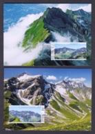 6.- LIECHTENSTEIN 2019 FOUR MAXIMUM CARDS MOUNTAINS PANORAMA - Geología