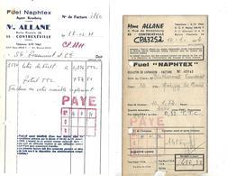 2 Facturettes 1971-72 / 88 CONTREXEVILLE / M. ALLANE / Fuel Naphtex - France