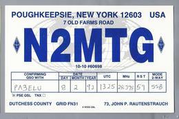 US.- QSL KAART. CARD. N2MTG. JOHN P. RAUTENSTRACH, POUGHKEEPSIE, NEW YORK. DUTCHESS COUNTY. U.S.A. - Radio-amateur