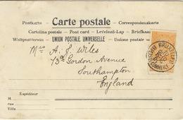 1 Franc Orange Seul Sur Carte Vue Bruxelles Effets De Commerce Vers Angleterre - 1893-1900 Thin Beard