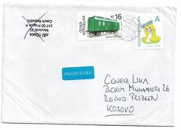 Czech Trein And Red Cross Stamp To Kosovo - Czech Republic