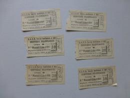 ITALIE BARI Massari-Lido, Filoviario, Lot De 6 Tickets 1953  Ref 474 ; PAP05 - Toegangskaarten