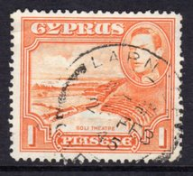 CYPRUS - 1938-1951 1938 ONE PIASTRE KGVI FINE USED LARNACA SG 154 REF A30 - Cyprus (...-1960)