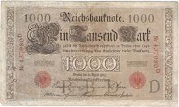 Alemania - Germany 1.000 Mark 21-4-1910 Pk 44 A Sellos Y Serie En Rojo, Serie De 6 Dígitos Ref 35-3 - 1.000 Mark