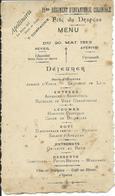 Menu: Fête Du Drapeau Du 11me Régiment D'Infanterie Coloniale, 7e Compagnie, Du 20 Mai 1913  (MILITARIA) - Menus