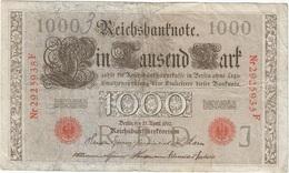 Alemania - Germany 1.000 Mark 21-4-1910 Pk 44 B Sellos Y Serie En Rojo, Serie De 7 Dígitos Ref 36-8 - [ 2] 1871-1918 : Imperio Alemán