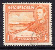 CYPRUS - 1938-1951 1938 ONE PIASTRE KGVI FINE USED SG 154 REF A31 - Cyprus (...-1960)