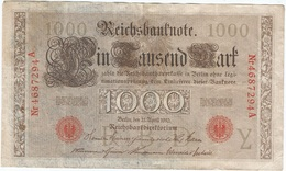 Alemania - Germany 1.000 Mark 21-4-1910 Pk 44 B Sellos Y Serie En Rojo, Serie De 7 Dígitos Ref 35 - [ 2] 1871-1918 : Imperio Alemán